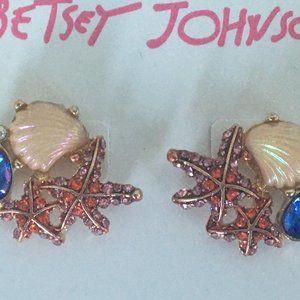 Betsey Johnson Pavé Starfish & Shells Earrings